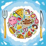 Colorful planet of cute food vector illustration