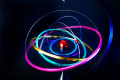 Colorful planetarium spinning on itself. Toy planetarium spinning on it stock photo