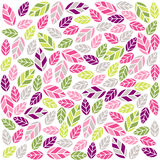 Colorful plant pattern with fabric texture Royalty Free Stock Photography