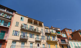 Colorful Plaster Buildings with Balconies Royalty Free Stock Photography