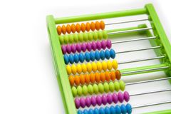 Colorful plastic abacus on white background royalty free stock images