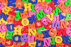 Colorful plastic alphabet letters as background Royalty Free Stock Photography