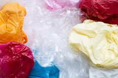 Colorful plastic bags for background. Colorful plastic bags. Top view stock photos