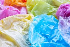 Colorful of plastic bags. Colorful plastic bags for background stock photo