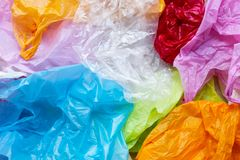 Colorful of plastic bags. Colorful plastic bags for background stock photography