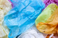 Colorful plastic bags. Waste background stock photography