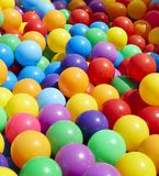 Colorful plastic balls background. Colorful plastic balls for background, outdoor daylight stock photo