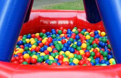Colorful plastic balls. In bouncy castle Royalty Free Stock Image