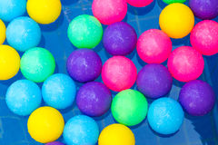 Colorful plastic balls in pool , pool villa house Stock Images