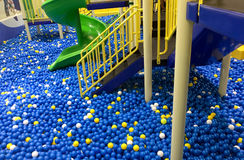 Colorful plastic balls and stair on with slider Royalty Free Stock Photography