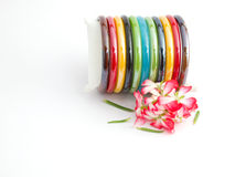 Colorful Plastic Bangles Royalty Free Stock Photography