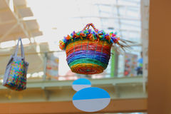 Colorful Plastic Basket floating in the air with ropes Royalty Free Stock Images