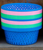 Colorful plastic basket in market Royalty Free Stock Photos