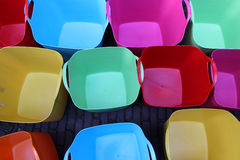 Colorful plastic baskets Royalty Free Stock Photos