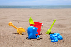Colorful plastic beach toys Royalty Free Stock Image