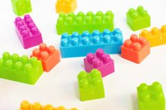 Colorful plastic blocks Stock Images