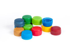 Colorful plastic bottle caps Royalty Free Stock Photos