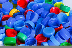 Colorful plastic bottle screw caps Royalty Free Stock Photos