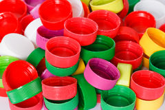 Colorful plastic bottle screw caps Royalty Free Stock Images