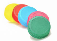 Colorful plastic bottle caps Stock Photo
