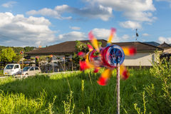 Colorful plastic bottle windmill Royalty Free Stock Photos