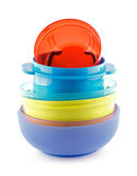 Colorful plastic bowls Royalty Free Stock Photography