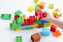 Colorful plastic bricks Stock Photo