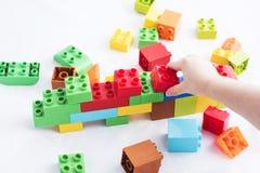 Colorful plastic bricks Stock Images