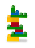 Colorful plastic bricks Stock Images