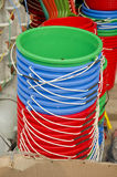 Colorful plastic buckets in asia market Royalty Free Stock Photography