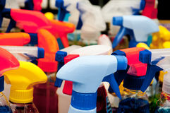 Colorful plastic caps for detergents , shampoos and liquid soaps. Plastic Stock Image