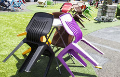 The colorful plastic chair and table Royalty Free Stock Image