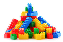 Colorful plastic children toys  on white background Royalty Free Stock Images