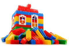 Colorful plastic children toys on white background Royalty Free Stock Photos