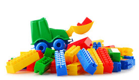 Colorful plastic children toys on white background Royalty Free Stock Photo