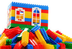Colorful plastic children toys  on white background Stock Images