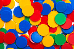 Colorful plastic chip coins Stock Photo