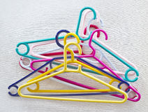 Colorful plastic clothes hanger Stock Photo