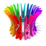 Colorful plastic clothes pegs Stock Image