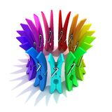 Colorful plastic clothes pegs Royalty Free Stock Photo