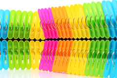 Colorful plastic clothespin Stock Images