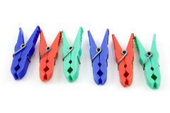 Colorful plastic clothespins Royalty Free Stock Photos