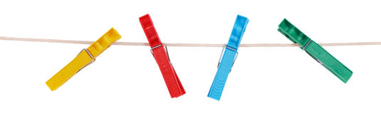Colorful plastic clothespins Royalty Free Stock Photography