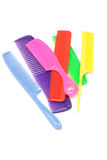 Colorful plastic combs. Assortment of colorful plastic combs on white background Stock Images