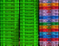 Colorful plastic containers. Background texture Royalty Free Stock Photography
