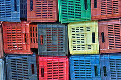 Colorful plastic crates background Stock Photo