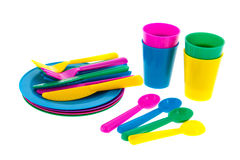 Colorful plastic crockery Stock Photos