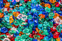 Colorful plastic crystals and colorful of background Stock Photography