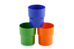 Colorful plastic cup Stock Photos