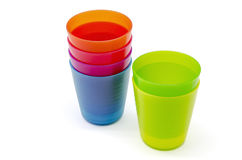 Colorful plastic cups Stock Photo